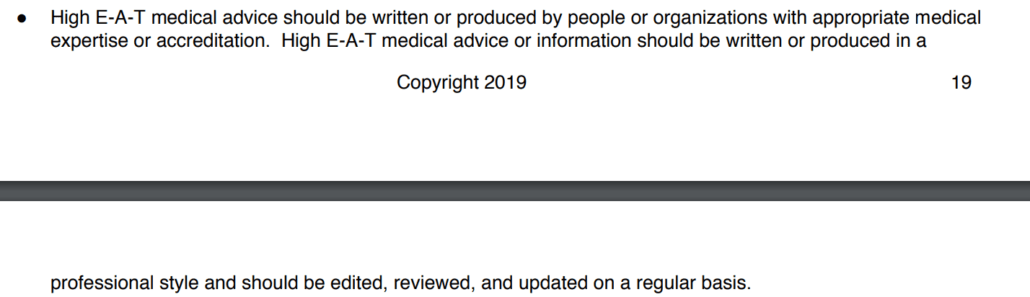 Google's guidelines for medical content