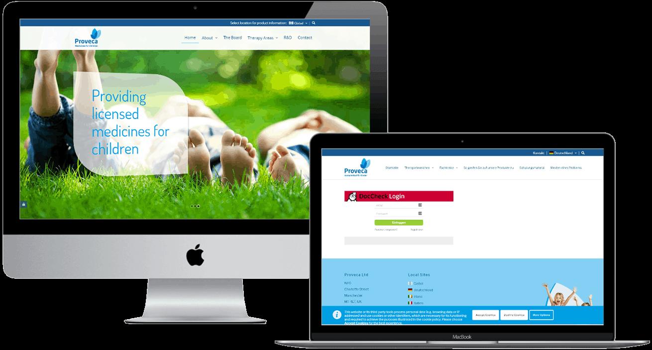 Proveca desktop website
