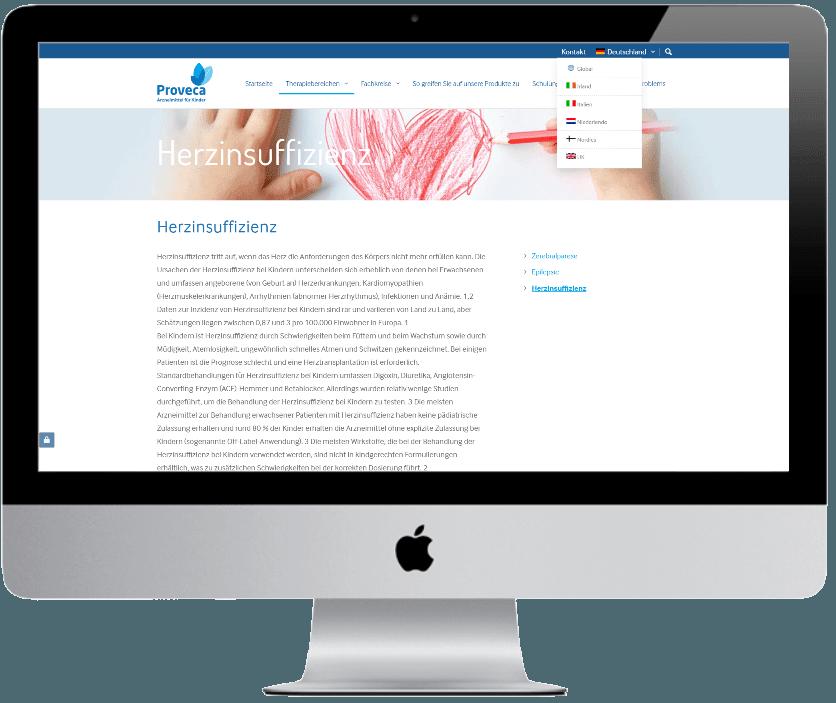 Proveca multi-lingual website